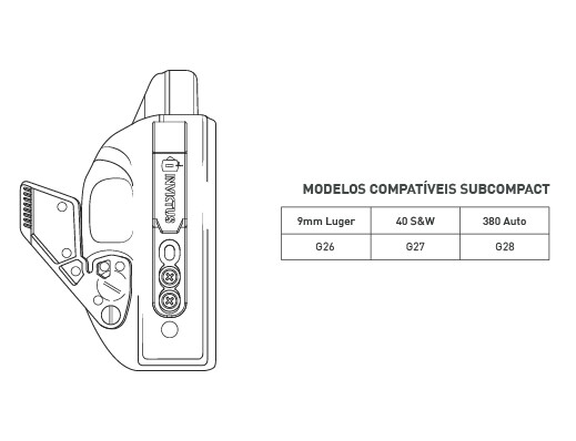 Coldre Glock Kydex Iwb Destro Subcompact